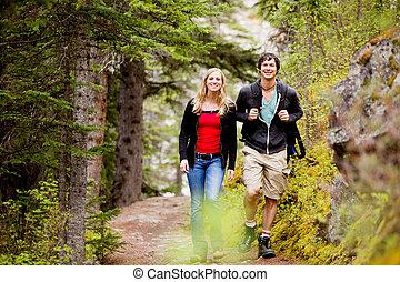 acampamento, Hiking, homem, mulher