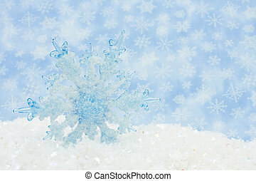 Winter Scene - Blue Snowflake in a snow bank, Winter Scene