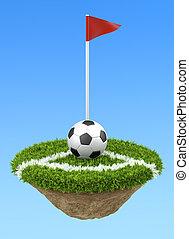 Soccer ball on the corner