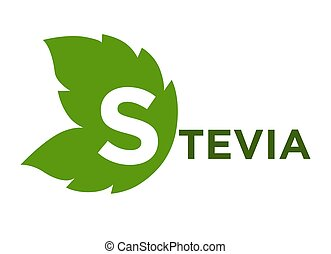 Stevia green leaf with inscription isolated on white -...