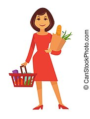Cartoon woman stands with shopping basket and paper bag -...