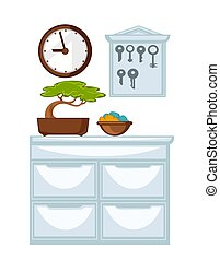 Glossy chest of drawers, wooden clocks and keys holder -...