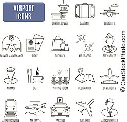 Airport icons. Set of vector pictograms