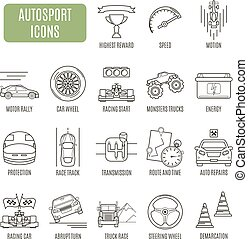 Autosport  icons. Set of vector pictogram for web graphics