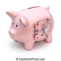 Piggy bank with vault door