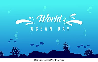 World ocean day background with underwater