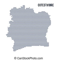 Vector hexagon map of Cote D'ivoire on a white background -...