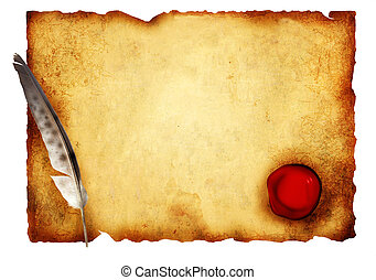 Parchment - Old parchment with wax seal. Isolated over white