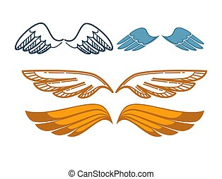 Gorgeous wings set isolated on white. Angel gold and blue...