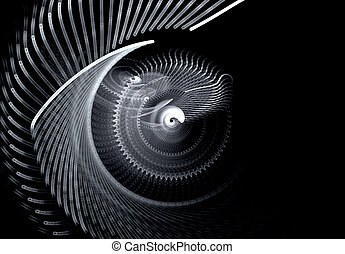 Monochrome screwdriving rotating abstract fractal on black...