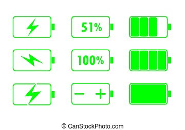 Green Battery Indicator Icons