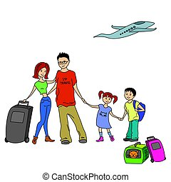 Happy Family With Summer Trip, Vacations, Holiday, Travel...