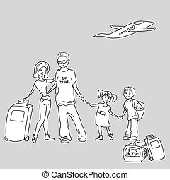 Happy Family With Summer Trip, Vacations, Holiday, Travel Destination