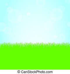 Green grass nature field and sunny blue sky background...