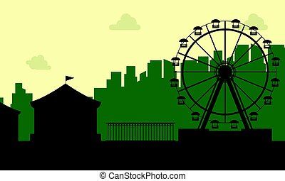 The carnival funfair scenery silhouette