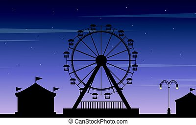 Vector art of amusement park scenery silhouette