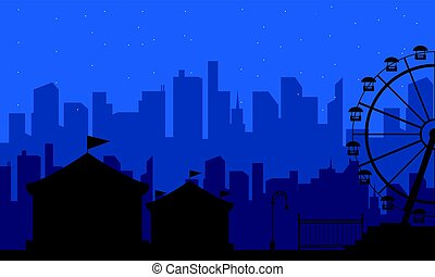 Collection of amusement park scenery silhouette
