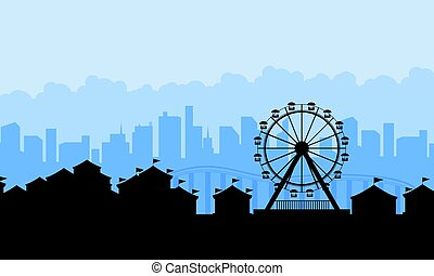 Amusement park landscape silhouettes background