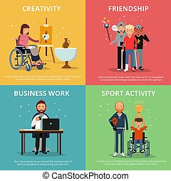 Concept pictures of disabled people rehabilitation. Human friendship. Vector banner set
