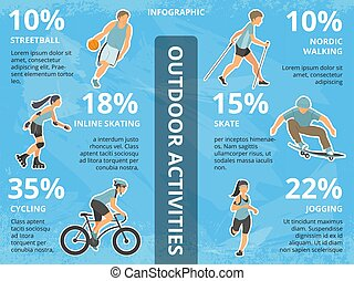 Vector infographics illustrations with people outdoors. Group walking in park. Active rest at nature