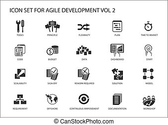 Agile software development vector icon set