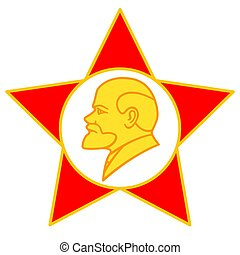 Lenin on star - Illustration of the Lenin portrait on red...
