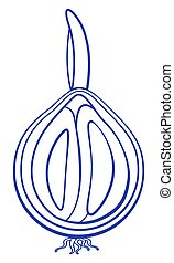 Onion bulb contour icon - Illustration of the contour onion...