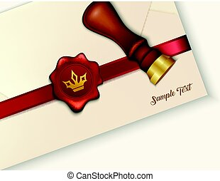 Envelope and red wax seal with wax seal stamp