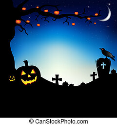 Happy Halloween - Pumpkins With Tree, Raven And Cemetery,...
