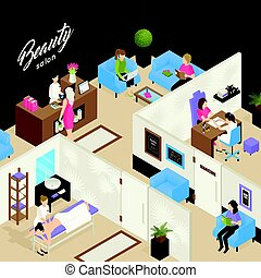 Beauty Salon Isometric Design Concept - Beauty salon...