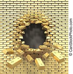 Destruction of a golden wall