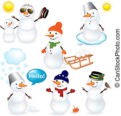 Collection Of Snowmen - 7 Cartoon Snowman, Isolated On White...
