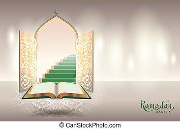 Ramadam kareem text greeting card. Open book