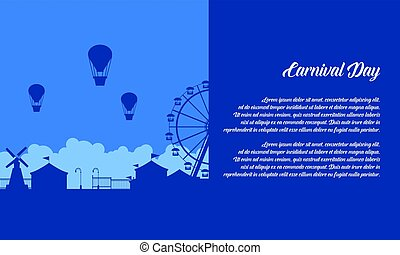 Background of amusement park scenery silhouette