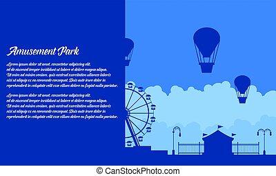 Vector flat amusement park background