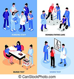 Hospital 4 Isometric Icons Concept - Hospital staff concept...