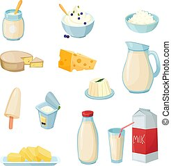 Dairy Products Set - Dairy products set with milk in various...