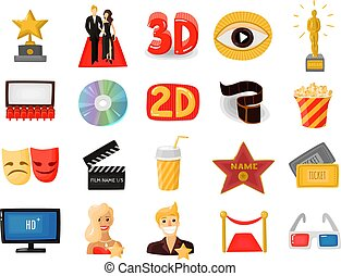 Cinema Icons Set - Set of colored cinema icons with actors...