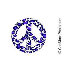 Hippie peace symbol with leopard violet print isolated on white background. Fashion design for t-shirt, bag, poster, scrapbook