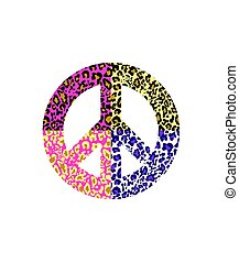 Peace symbol with leopard print isolated on white background. Fashion design for t-shirt, bag, poster, scrapbook