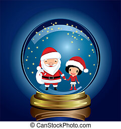 Snowglobe Santa Claus and Girl