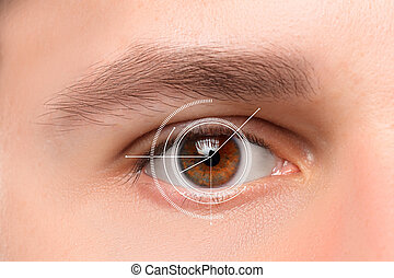 The conceptual image of digital eye of a young man