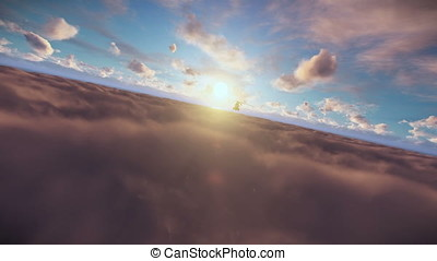 Military helicopter above sunset clouds