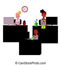 Black and caucasian business women in office, working on...