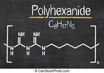 Blackboard with the chemical formula of Polyhexanide