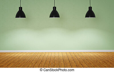 Empty room with three pendant lamps - 3d render