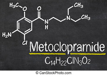 Blackboard with the chemical formula of Metoclopramide