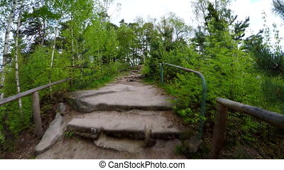 Climbing up stone staircase in forest in National Park Cesky...