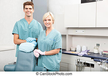 Dental Team - Portrait of a confident male and female...