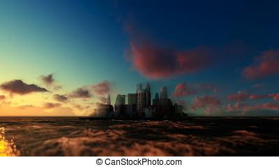 Modern city on ocean, sunrise morning mist